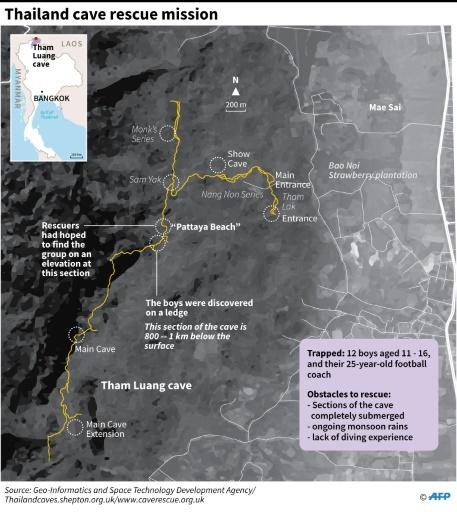 Map showing the cave system in Thailand where 12 school children have been trapped with their football coach since June 23