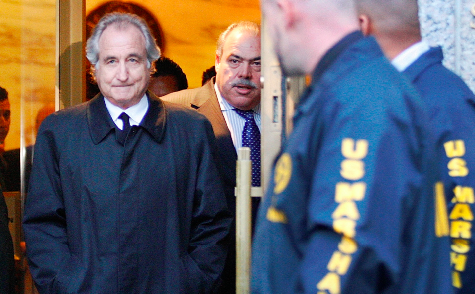 In this Jan. 5, 2009 file photo, Bernard Madoff leaves U.S. District Court in New York. (AP Photo/Kathy Willens)