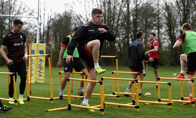 """<span class=""""element-image__caption"""">Saracens' Owen Farrell said: 'We have discussed the detail of Glasgow today and will concentrate on ourselves, and maybe we will build on the emotion side later in the week.'</span> <span class=""""element-image__credit"""">Photograph: David Rogers/Getty Images</span>"""