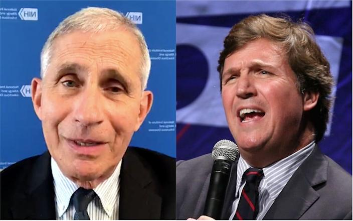 """A composite image of Dr. Anthony Fauci at an interview with The Washington Post on August 14, 2020, and Fox News host Tucker Carlson at Politicon 2018 in Los Angeles in October 2018. <p class=""""copyright"""">The Washington Post/Instagram; Phillip Faraone/Getty Images for Politicon</p>"""