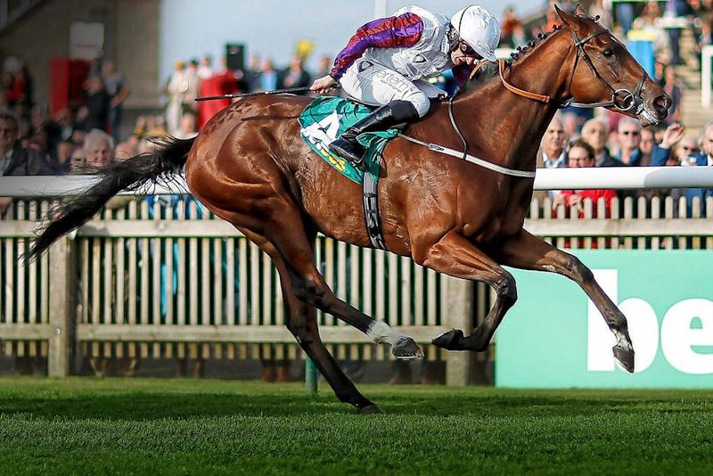 The fast lane: PJ McDonald wins the Fillies' Mile on Laurens at Newmarket last season: Getty Images