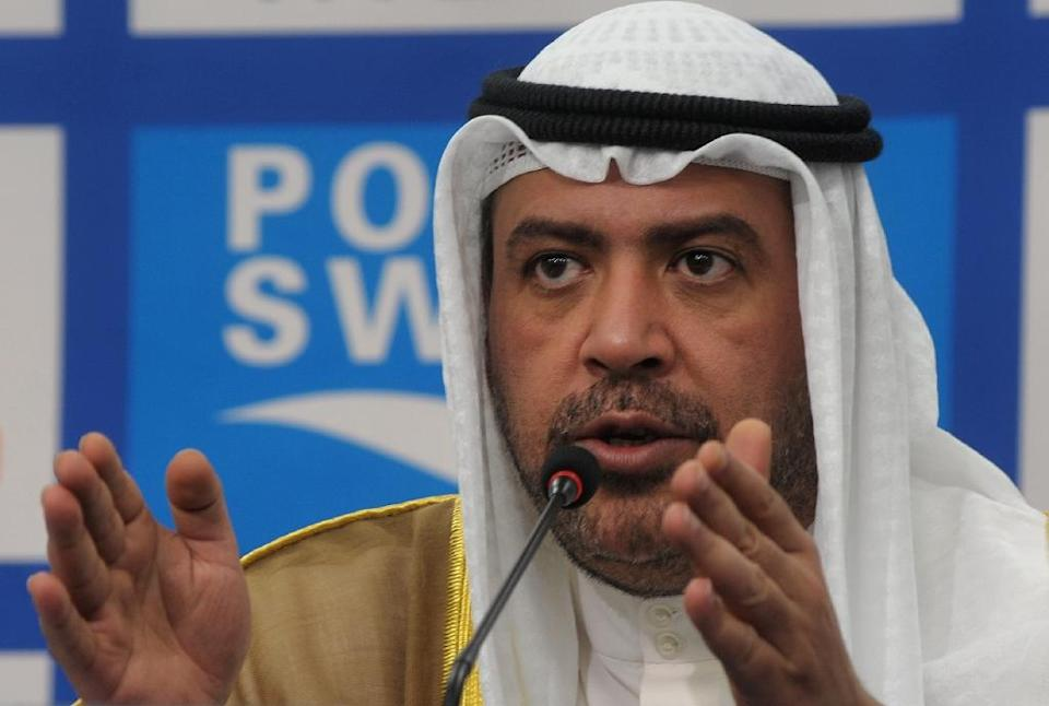 Kuwaiti Sheikh Ahmad al-Fahad al-Sabah (pictured) has been named as a co-conspirator of disgraced Guam football chief Richard Lai, who recently pleaded guilty to receiving nearly $1 million in bribes (AFP Photo/Richard A. Brooks)