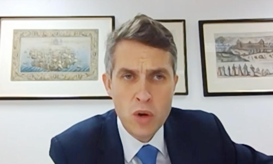 Education Secretary Gavin Williamson appearing by videolink to answer questions from members of the House of Commons Education Committee. (PA)