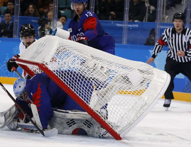 Ice Hockey - Pyeongchang 2018 Winter Olympics - Men's Preliminary Round Match - South Korea v Switzerland - Gangneung Hockey Centre, Gangneung, South Korea - February 17, 2018 - The net gets dislodged atop goalie Matt Dalton of South Korea. REUTERS/Grigory Dukor