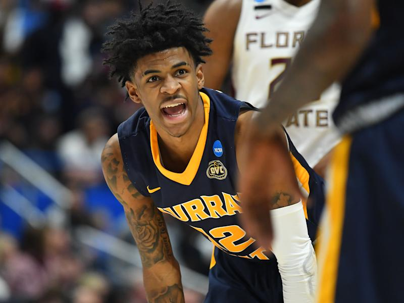 Murray State Racers guard Ja Morant (12) talks to a teammate during the second half of game against the Florida State Seminoles in the second round of the 2019 NCAA tournament. (Credit: USAT)
