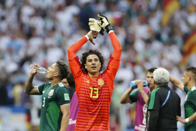 Mexico goalkeeper Guillermo Ochoa celebrates after winning the group F match between Germany and Mexico at the 2018 soccer World Cup in the Luzhniki Stadium in Moscow, Russia, Sunday, June 17, 2018. Mexico won Germany 1-0. (AP Photo/Antonio Calanni)