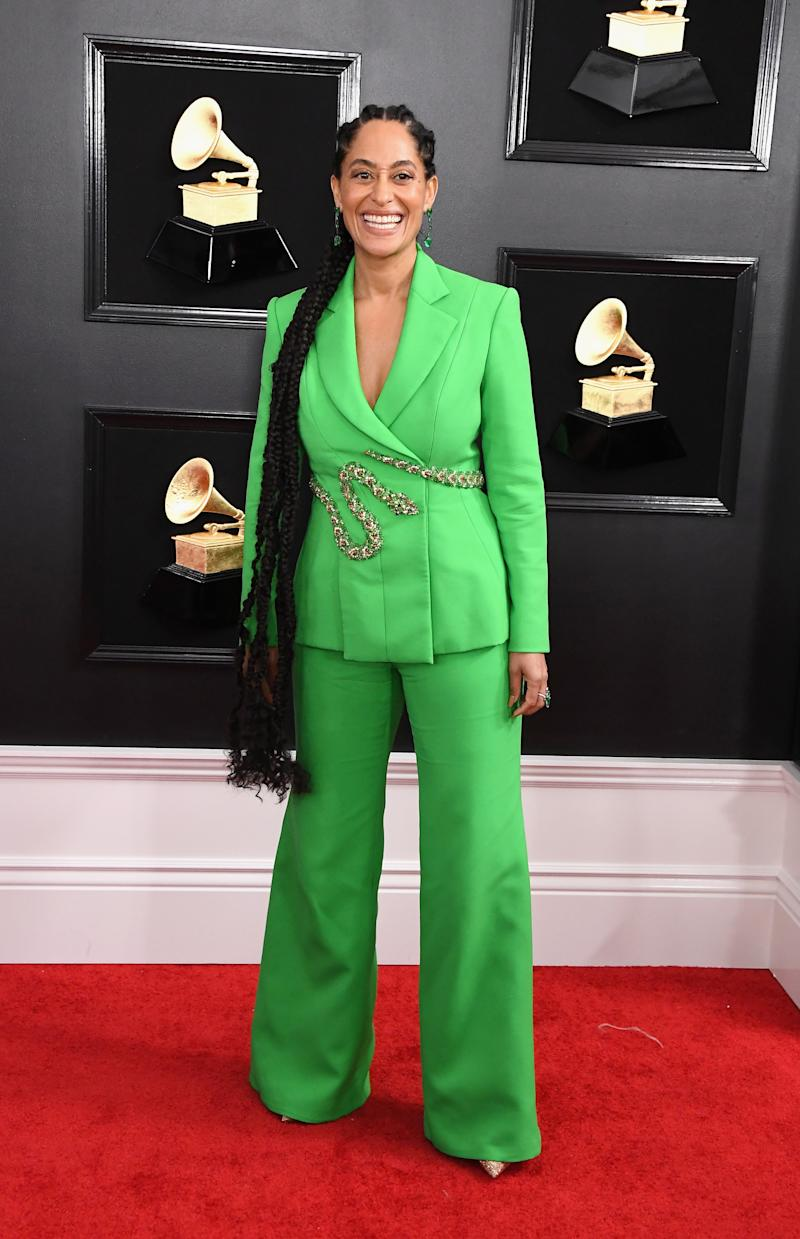 Best of the night? This is wacky in a way that actually fits with Tracee Ellis Ross's persona, and she looks so comfortable and happy in this green pantsuit.