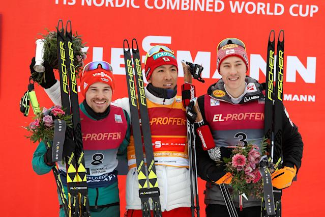 FIS Nordic Combined World Cup - Men's Gundersen LH HS134/10.0 K - Oslo, Norway - March 10, 2018 Winner Akito Watabe of Japan (C), second placed Fabian Riessle of Germany (L) and third placed Mario Seidl of Austria at the podium. Terje Bendiksby/NTB Scanpix/via REUTERS ATTENTION EDITORS - THIS IMAGE WAS PROVIDED BY A THIRD PARTY. NORWAY OUT.