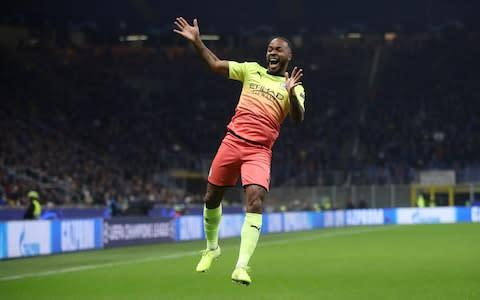 <span>Sterling celebrates after opening the scoring </span> <span>Credit: Action Images </span>
