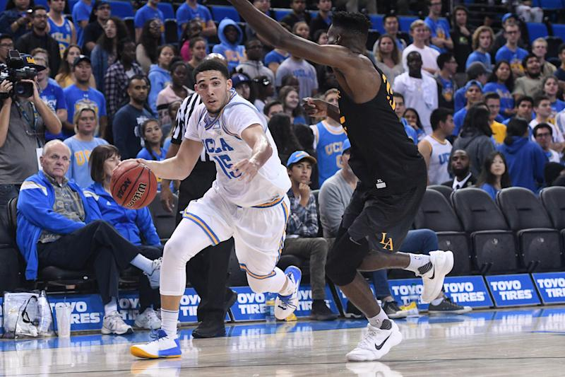 One of the arrested players, LiAngelo Ball, pictured in an exhibition game on Nov. 1, comes from a famous basketball family. (Icon Sportswire via Getty Images)
