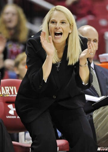 Maryland coach Brenda Frese reacts to a Maryland basket against Brown during the second half of an NCAA college basketball game, Friday, Dec. 28, 2012, in College Park, Md. Maryland won 76-36.(AP Photo/Gail Burton)