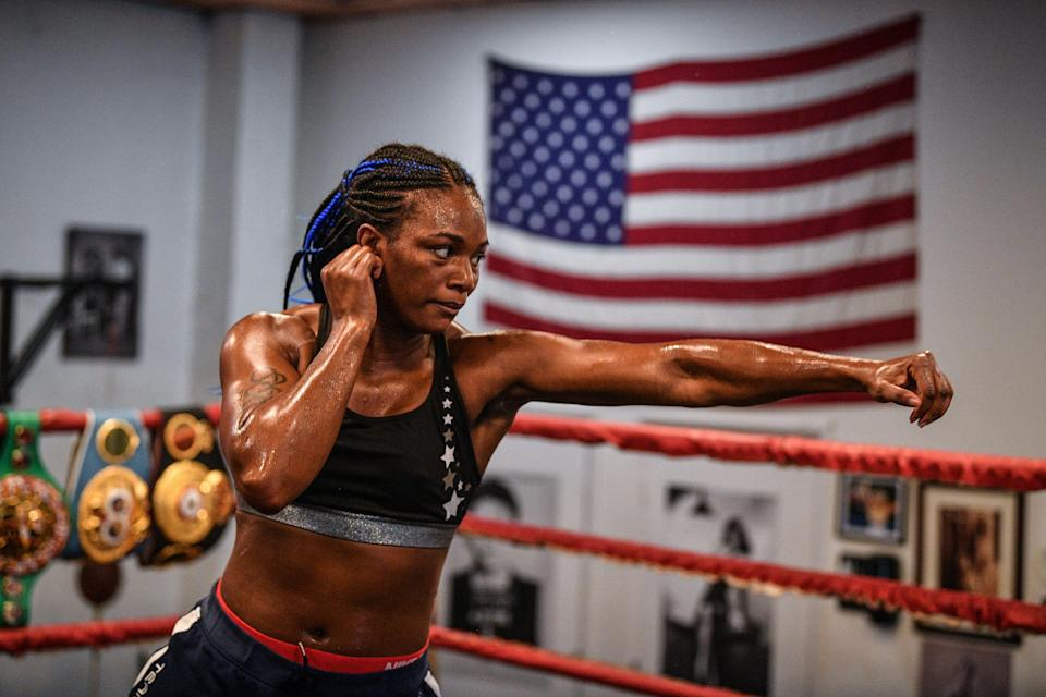 WBA, WBC and IBF middleweight champion Claressa Shields works out for the media at 5th Street Gym on April 4, 2019 in Miami, Florida. (Getty Images)