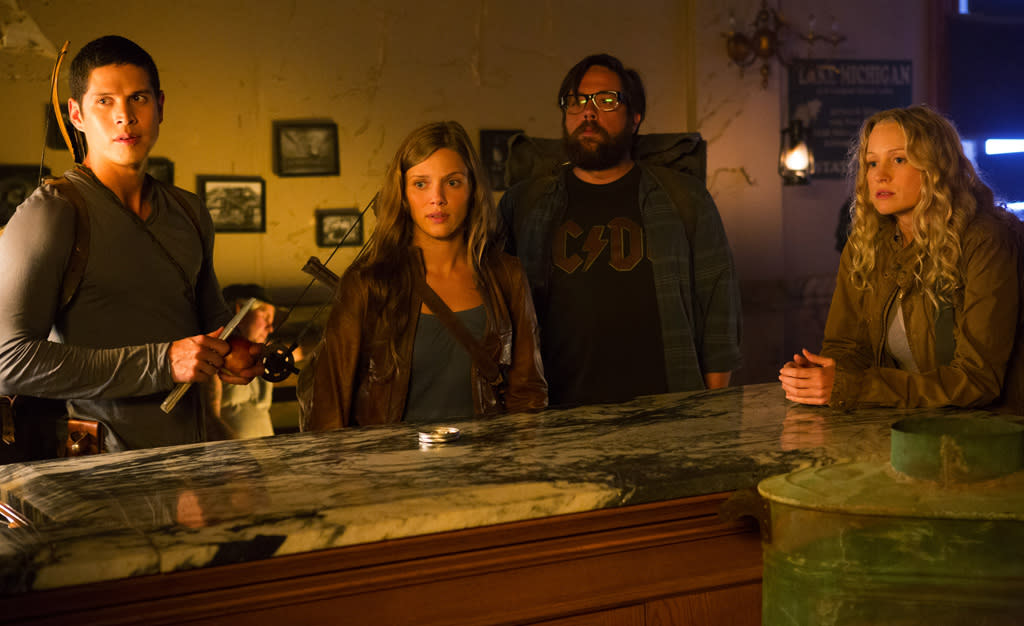 "JD Pardo as Nate, Tracy Spiridakos as Charlie, Zak Orth as Aaron and Anna Lise Phillips as Maggie in ""Revolution"" on NBC."
