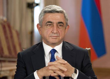FILE PHOTO: Armenian President Serzh Sarksyan gives an interview at the presidential palace in Yerevan October 5, 2012. REUTERS/Nazik Armenakyan/File Photo