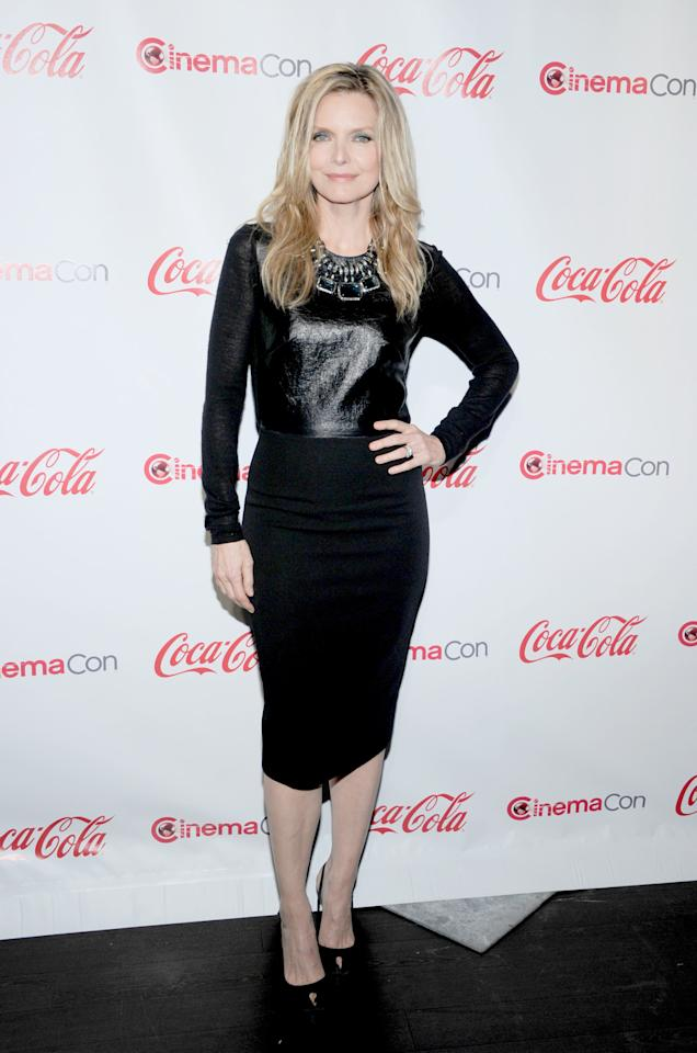 LAS VEGAS, NV - APRIL 26:  Actress Michelle Pfeiffer, recipient of the Cinema Icon Award, arrives at the CinemaCon awards ceremony at the Pure Nightclub at Caesars Palace during CinemaCon, the official convention of the National Association of Theatre Owners April 26, 2012 in Las Vegas, Nevada.  (Photo by Ethan Miller/Getty Images)