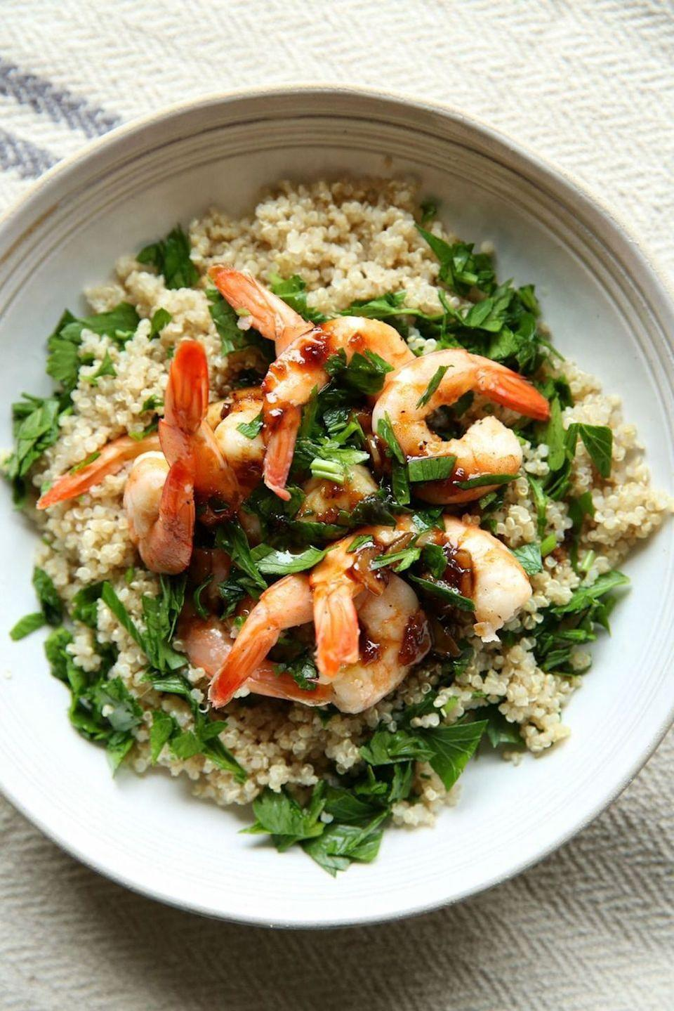 """<p>Don't call these guys shrimpy—they're big on flavor.<br><br>Get the recipe from <a href=""""https://www.delish.com/cooking/recipe-ideas/recipes/a47574/balsamic-glazed-shrimp-with-quinoa-recipe/"""" rel=""""nofollow noopener"""" target=""""_blank"""" data-ylk=""""slk:Delish"""" class=""""link rapid-noclick-resp"""">Delish</a>.</p>"""