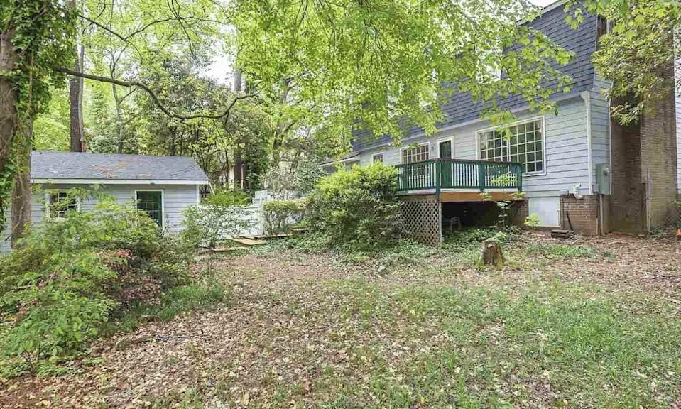 <p>A messy, sprawling yard with no usable space for storing yard and garden equipment. </p>