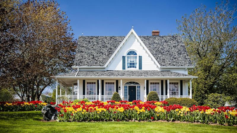 spring house with flowers