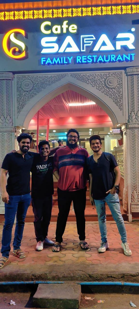 (From left) Sagar, Anish, Saad and Munawar having a meal after one of their shows.