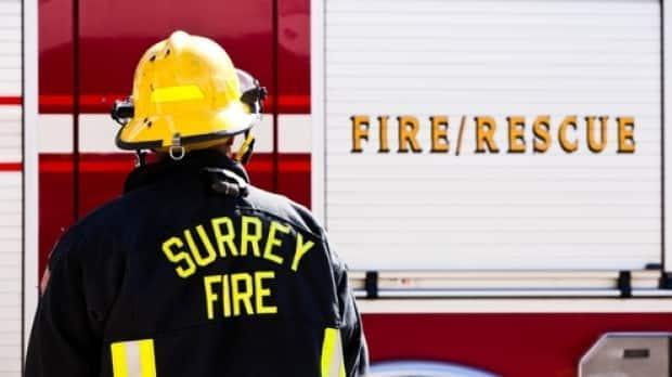 Surrey firefighters were called to the fire in the area of 70A Avenue and 140th Street around 5:30 p.m. Tuesday.  (Surrey Fire Service - image credit)
