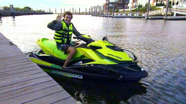 PHOTO: David Pike shows 'GMA' his morning ride on a jet ski from Jersey City to Brooklyn. (ABC News)