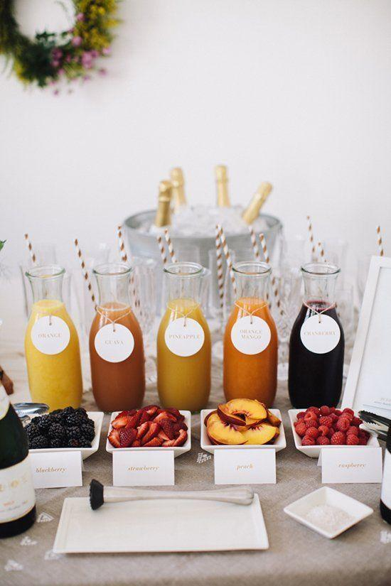 <p>OJ isn't the only juice that makes for a great mimosa. Offer pineapple, guava, orange mango, and cranberry juice options. That way, after everyone has their classic orange juice-based mimosa, they can mix it up. Bonus: Include a variety of fruits, too, like blackberries, strawberries, peaches, and raspberries.</p>