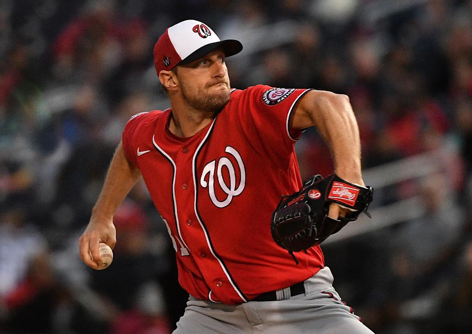 WEST PALM BEACH, FLORIDA - FEBRUARY 22: Max Scherzer #31 of the Washington Nationals delivers a pitch in the first inning during the spring training game against the Houston Astros at FITTEAM Ballpark of the Palm Beaches on February 22, 2020 in West Palm Beach, Florida. (Photo by Mark Brown/Getty Images)