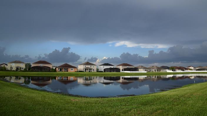 Amazing view of a colorful landscape after the storm, summer season in Riverview, Florida.