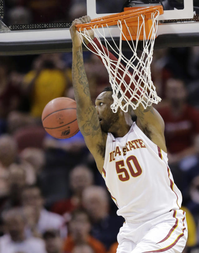 Iowa State guard DeAndre Kane (50) misses a dunk against North Carolina Central during the first half of a second-round game in the NCAA college basketball tournament Friday, March 21, 2014, in San Antonio. (AP Photo/Eric Gay)