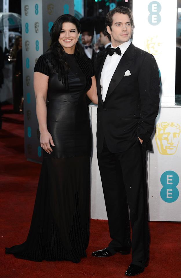 Henry Cavill  and  Gina Carano attend the EE British Academy Film Awards at The Royal Opera House on February 10, 2013 in London, England.  (Photo by Ian Gavan/Getty Images)