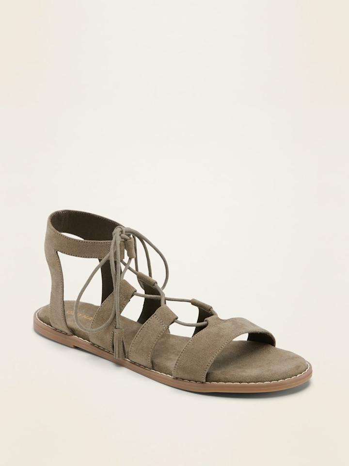 "<p><a href=""https://www.popsugar.com/buy/Faux-Suede-Lace-Up-Gladiator-Sandals-572594?p_name=Faux-Suede%20Lace-Up%20Gladiator%20Sandals&retailer=oldnavy.gap.com&pid=572594&price=15&evar1=fab%3Aus&evar9=47458158&evar98=https%3A%2F%2Fwww.popsugar.com%2Ffashion%2Fphoto-gallery%2F47458158%2Fimage%2F47458168%2FOld-Navy-Faux-Suede-Lace-Up-Gladiator-Sandals&list1=old%20navy%2Csandals%2Cfashion%20trends%2Ceditors%20pick&prop13=mobile&pdata=1"" rel=""nofollow"" data-shoppable-link=""1"" target=""_blank"" class=""ga-track"" data-ga-category=""Related"" data-ga-label=""https://oldnavy.gap.com/browse/product.do?pid=552420#pdp-page-content"" data-ga-action=""In-Line Links"">Faux-Suede Lace-Up Gladiator Sandals</a> ($15, originally $35)</p>"