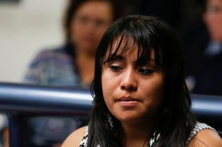 Evelyn Hernandez, who was sentenced to 30 years in prison for a suspected abortion attends a hearing in Ciudad Delgado