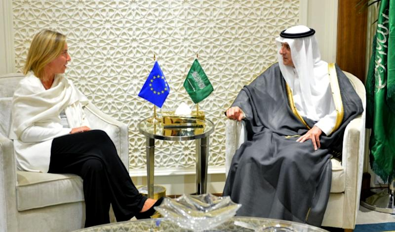 This handout photo from the Saudi Press Agency (SPA) on July 27, 2015 shows Foreign Minister Adel al-Jubeir (R) meeting with EU foreign affairs chief Federica Mogherini in Riyadh (AFP Photo/)