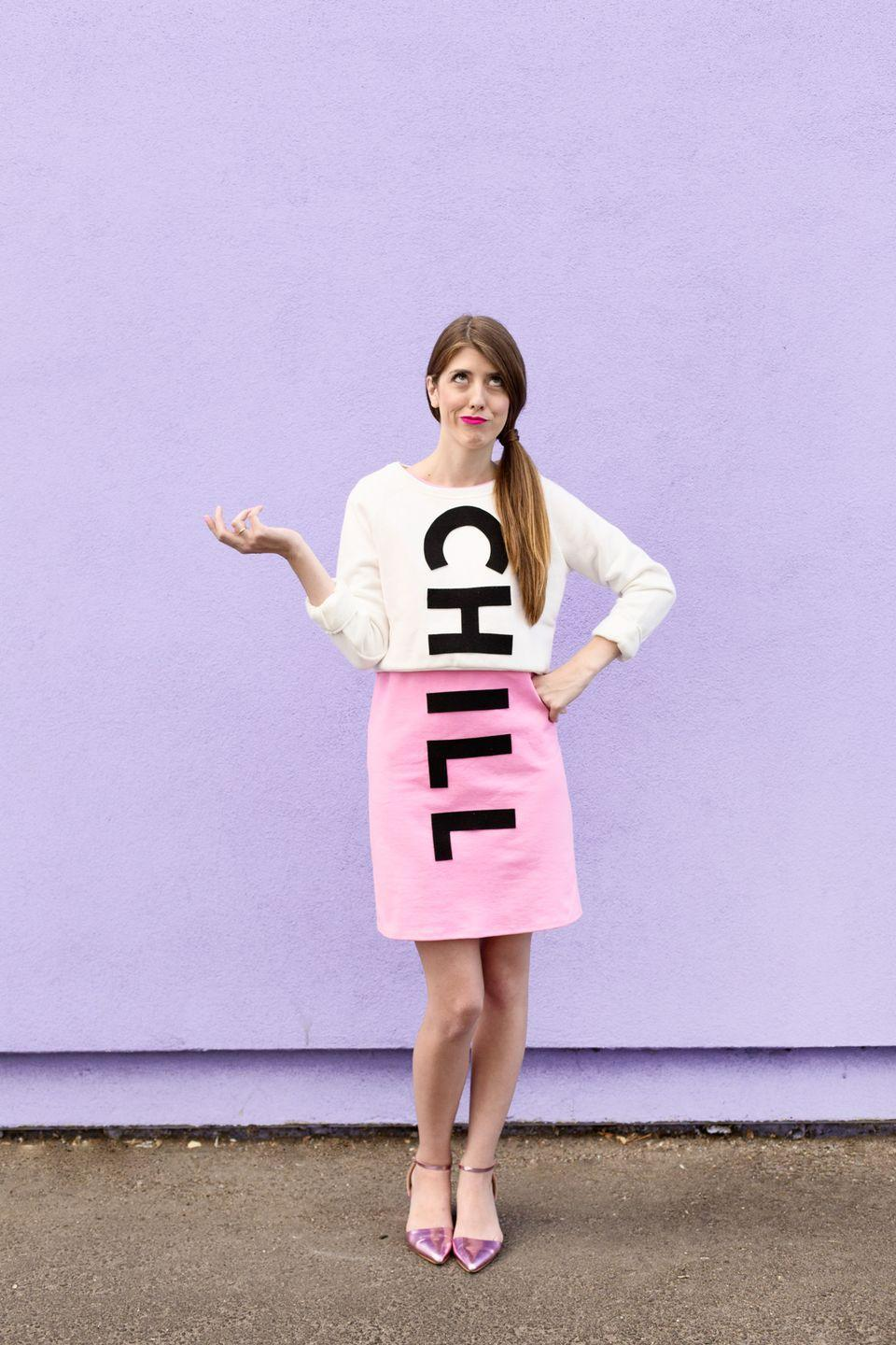 """<p>There's no need to stress about a DIY costume, especially with this one at your disposal. It's cheap and easy—simply pin big black felt letters to a white top and a pink skirt. </p><p><a class=""""link rapid-noclick-resp"""" href=""""https://studiodiy.com/diy-chill-pill-costume/"""" rel=""""nofollow noopener"""" target=""""_blank"""" data-ylk=""""slk:GET THE TUTORIAL"""">GET THE TUTORIAL</a></p><p><a class=""""link rapid-noclick-resp"""" href=""""https://www.amazon.com/Nu-Source-Inc-100-ACRYLIC-FELT-1281/dp/B001THXM6C/?tag=syn-yahoo-20&ascsubtag=%5Bartid%7C10072.g.33547559%5Bsrc%7Cyahoo-us"""" rel=""""nofollow noopener"""" target=""""_blank"""" data-ylk=""""slk:SHOP FELT"""">SHOP FELT</a> </p>"""