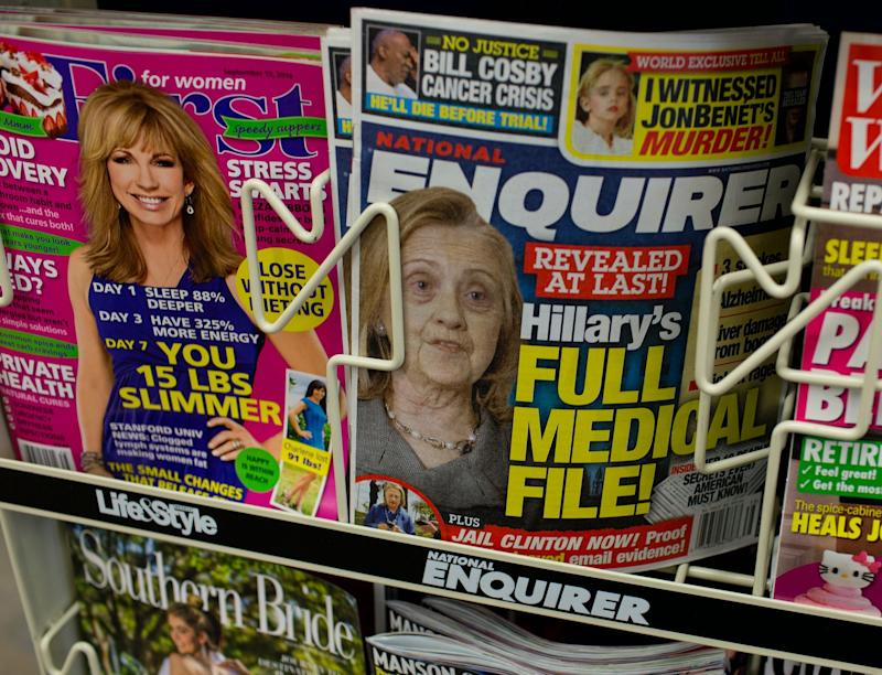 The National Enquirer repeats an allegation of Donald Trump's that Hillary Clinton is not healthy enough for the job of President by using a doctored photograph of her on its cover as seen in a Florence, South Carolina supermarket on September 14, 2016. (Photo: Andrew Lichtenstein/Corbis via Getty Images)