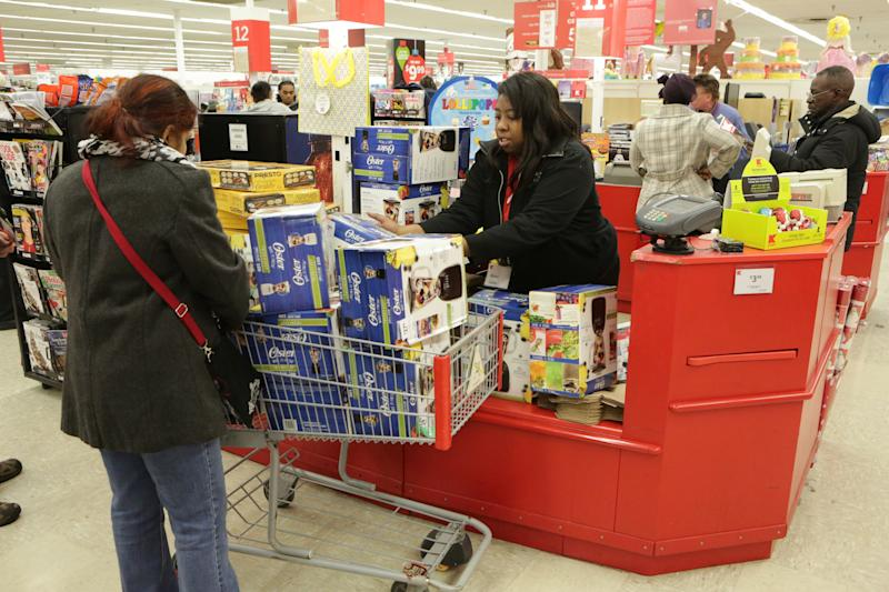 IMAGE DISTRIBUTED FOR KMART - Kmart customers in Chicago are first to shop holiday doorbuster deals on Thursday, Nov. 26, 2015. Kmart opened at 6 a.m. on Thanksgiving Day, offering more than 1,000 doorbuster deals. Kmart's ridiculously awesome doorbuster deals include the hottest brands - many exclusive to Kmart - from apparel, shoes and the most popular toys of the season to big and small appliances and consumer electronics, such as the Oster Simple Blender on sale for $14.99, reg. price $27.99. (Jean-Marc Giboux/ AP Images for Kmart)