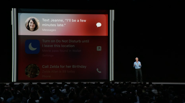Apple software SVP Craig Federighi demonstrates new Siri features at Apple WWDC 2018.