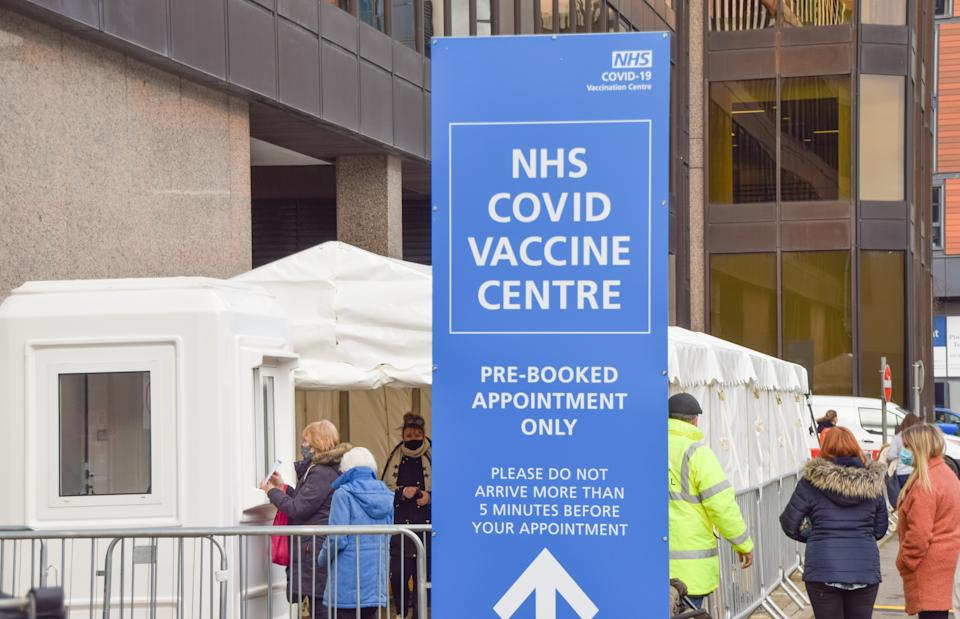 The NHS covid-19 Vaccine Centre in Wembley. Several mass vaccination sites have been opened around England, as the government rolls out its coronavirus vaccination program. (Photo by Vuk Valcic / SOPA Images/Sipa USA)