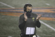 Oregon coach Mario Cristobal celebrates an Oregon touchdown during the first half of an NCAA college football game against Oregon State in Corvallis, Ore., Friday, Nov. 27, 2020. (AP Photo/Amanda Loman)