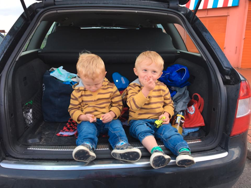 She shared this image of her son's sitting in the boot of her car. Photo: