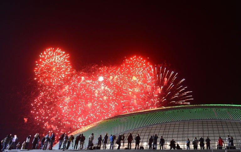 Fireworks explode in Sochi on February 7, 2013, to celebrate the 1 year countdown to the 2014 Winter Olympics opening