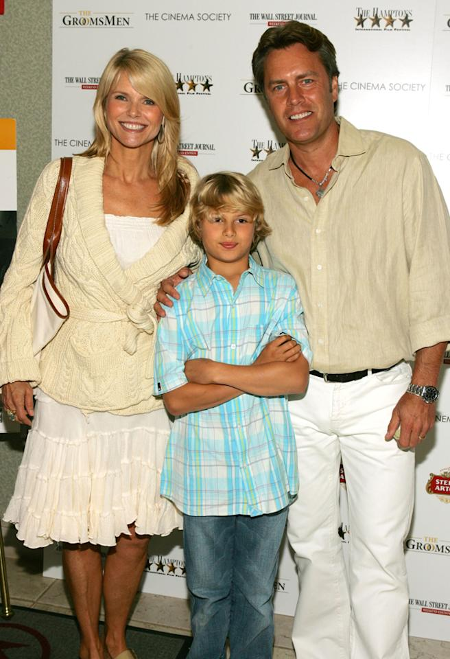 "SOUTHAMPTON, NY - JUNE 17:  Model Christie Brinkley, Husband Peter Cook and son Chad attend the premiere of ""The Groomsmen"" presented by The Cinema Society & The Hamptons Film Festival & The Wall Street Journal at Southampton UA Cinema June 17, 2006 in Southampton, New York.  ""The Groomsmen"" was written and directed by Ed Burns.  (Photo by Matthew Peyton/Getty Images)"
