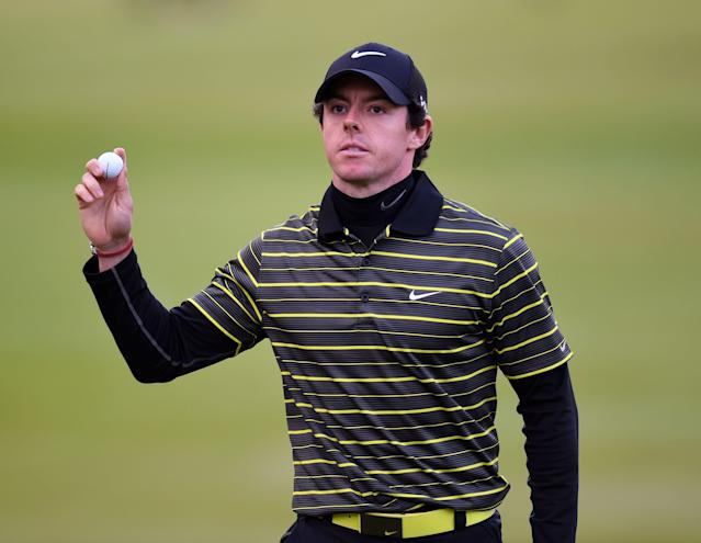 Northern Ireland's Rory McIlroy completes his round during day three of the BMW PGA Championships at the Wentworth Club, Virginia Water England Saturday May 24, 2014.(AP Photo/PA, Adam Davy)