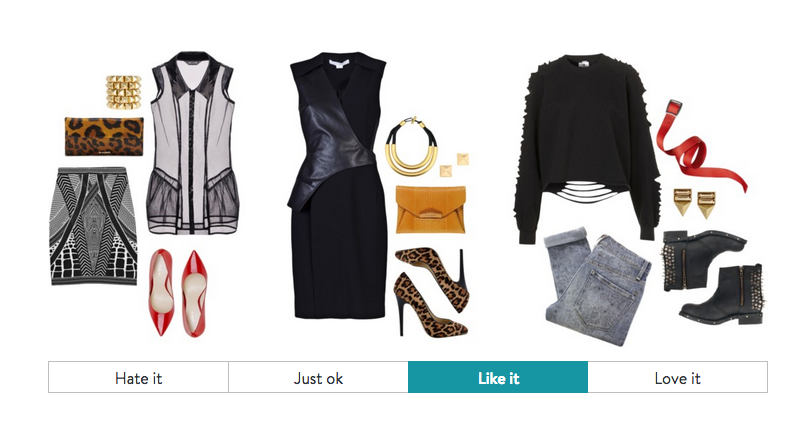 """A look at Stitch Fix's style survey, which tries to account for shopper's tastes and preferences. In one part of the survey, featured above, you indicate whether you """"like"""" a grouping of items. (Photo: Stitch Fix)"""