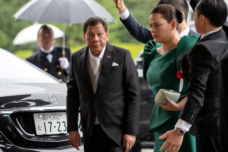 Philippines President Rodrigo Duterte arrives to attend the enthronement ceremony of Japan's Emperor Naruhito in Tokyo