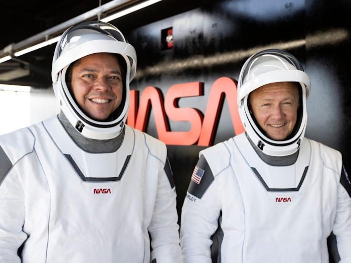 The NASA astronauts Bob Behnken and Doug Hurley in their spacesuits during a dress rehearsal on Saturday, ahead of NASA's SpaceX Demo-2 mission to the International Space Station.