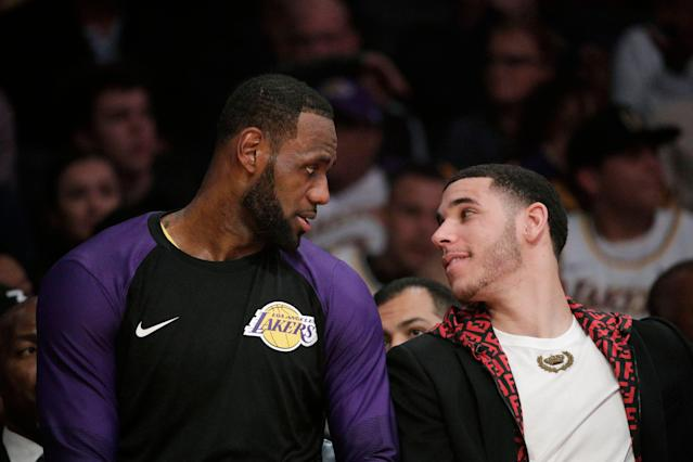 Lonzo Ball and LeBron James could be teammates in both real life and the movies. (AP Photo/Jae C. Hong)
