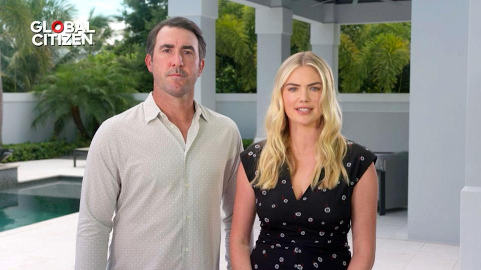 <p>Justin Verlander and Kate Upton speak during the <em>Global Goal: Unite For Our Future</em> concert from home over the weekend.</p>