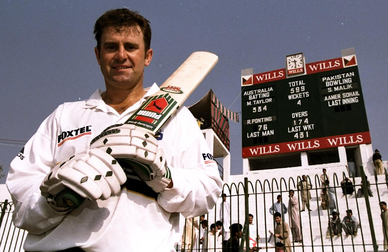 17 Oct 1998:  Mark Taylor of Australia after his record score innings in the Second Test against Pakistan in Peshawar, Pakistan. Mark Taylor scored a record number of runs. \ Mandatory Credit: Ben Radford /Allsport