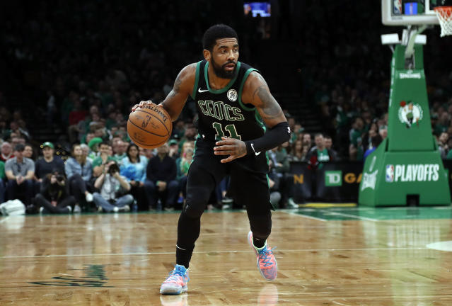 Boston Celtics' Kyrie Irving during the second quarter in Game 1 of a first-round NBA basketball playoff series against the Indiana Pacers, Sunday, April 14, 2019, in Boston. (AP Photo/Winslow Townson)